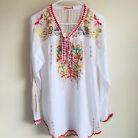 Johnny Was Embroidered Dragonfly Tunic Blouse Boho Size Small NWT
