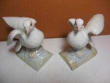 Pair of Otagiri Pigeon Dove Figurine Japan Porcelain Sculpture Bird Statue