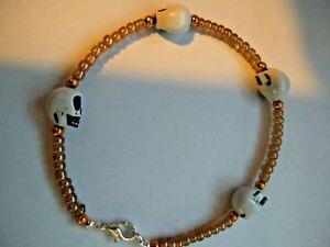 handmade skull and seed bead bracelet ladies girls boys mens christmas gift