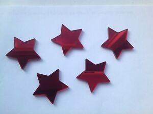 Red Star Shaped Acrylic Mirror Embellishments 4cm x15
