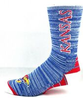 Kansas Jayhawks NCAA RMC Blue Heather and Red Crew Socks