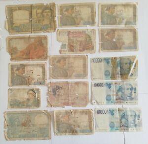 Banque de France & Italie lot N°10 - lot de 15 billets divers - petits états...
