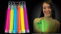 """50 Thick 6"""" Glow Sticks Fat Party Necklaces Light Lanyard Favors Neon Raves EDC"""