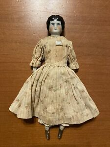 """Antique Circa 1890s Low Brow China Head Girl Doll 7"""" Germany Mark Clothed"""