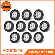 """10PC 2"""" Round Led Marker Lights 9LED Reflector Clear/Amber Kits Grommet/Pigtail"""