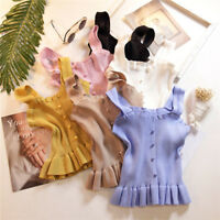 Chic Women Knit Button Tops Ruffle Strap Pleated Vest Shirt Casual Summer Blouse