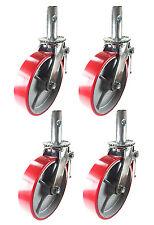 """4 pcs Scaffold Caster 6"""" x 2"""" Red Wheels w/ Locking Brakes 1-3/8"""" Stem 2800 lbs."""