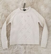 JCrew Pom Pom Sweater In Merino wool Crew neck Ivory XXS F9327 $98 SOLD-OUT!