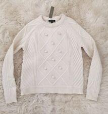 JCrew Pom Pom Sweater In Merino wool Crew neck Ivory XXS F9327 $98 SOLD-OUT!
