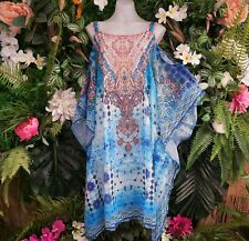Long Bohemian Relax Fit Cold Shoulder Sheer Embellished Dress One Size 16/18