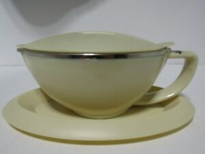 Vintage Trudeau sauce or Gravy Boat with saucer by Morelli Designs