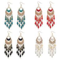 Boho Fashion Women Beads Drop Tassel Dangle Hook Ear Stud Earrings Party Jewelry