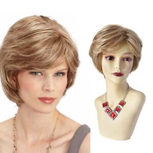 Short Layered Full Cap Wig for Women with Bangs Kanekalon Synthetic Hair Natural