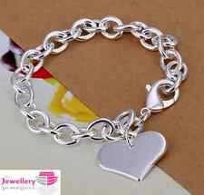 925 Sterling Silver Single Heart Charm Bracelet Jewellery Womens Ladies Gifts