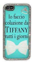 """Cover iPhone 4 / 4s / 5 / 5s argentata con strass """"Colazione da Tiffany"""""""