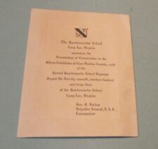 1943 Camp Lee Virginia Quartermaster School Officer Ceremony Announcement WWII