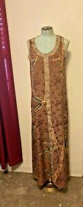 KUSNADI Vintage Dress Brocade Rayon Batik Lagenlook Wearable Art RARE PocketsXL