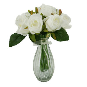 White Bud Rose Artificial Flower Arrangement In Pretty Glass Vase (23cm) Home De