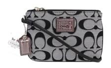 New NWT Coach Poppy Black White and Silver Signature Wristlet Wallet Purse 46131