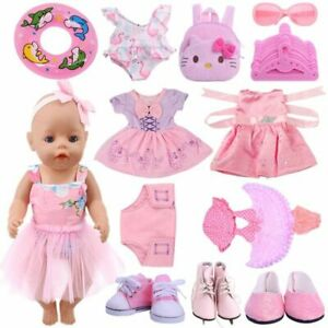Doll Clothes Pink Dress Shoes 18 Inch 43CM Reborn Baby New Born Accessories Suit