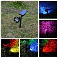 7-LED Solar Power RGB Garten Lampe Rasen Landschaftsbild Licht Strahler Outdoor