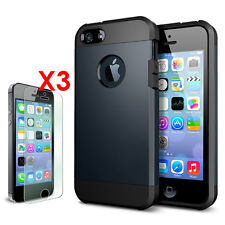 iPhone 5S / 5 Case Slim Tough [Ultra Fit] [3x Clear Screen Protector] Armor Case