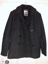 Superdry men's Rookie Pea coat Charcoal Grey