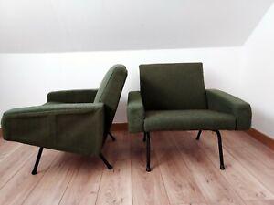 paire de fauteuils 1950 Pierre Guariche Airborne Steiner tissu vert d origine
