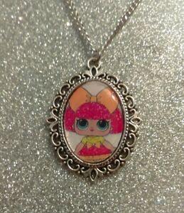 Silver Charm Necklace Pendant LOL L.O.L Surprise Doll Glitter Queen