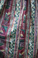 """PAIR of VINTAGE Satin Cotton Abstract Design Lined  CURTAINS. 55"""" L X 55""""W"""