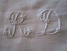 nappe en damassé de lin + 12 serviettes monogramme RD