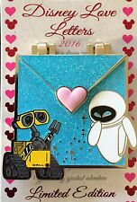 DISNEY PIN LOVE LETTERS WALL E AND EVE GLITTER LE PIN OF THE MONTH EXCLUSIVE LE