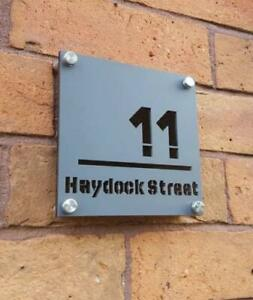 Layered Acrylic House Sign - Grey personalised door plaques/ door numbers