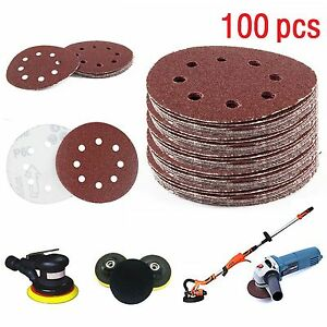 "100X 125mm- 5"" Sanding Discs 60 80 100 120 240 Mixed Grit Orbital Sander 8 Hole"