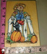 Sammy scarecrow, Sam pendas, black cat pumpkins fence, 53,rubber stamp, wood