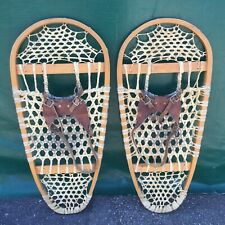 Vintage BEAR PAW SNOWSHOES 30x14  Snow Shoes LEATHER BINDINGS Great!