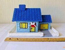 Vintage Plastic Canvas Christmas Village Blue House Blue Roof Garage Handmade