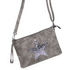 Stern Glitzer Umhänge Tasche Cross Bag Shopper Clutch Metallic Grau NEU