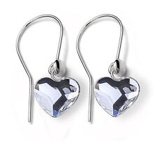 925 Sterling Silver Fish Hook Earrings Heart Clear Crystals from Swarovski®
