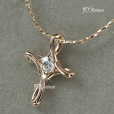 18K ROSE GOLD GF MADE WITH SWAROVSKI CRYSTAL CROSS PENDANT NECKLACE