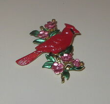 Cardinal Bird Pin Dogwood Flowers Red Gold Tone Pink Animals New