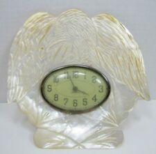 Antique 19c Figural EAGLE Mother of Pearl Decorative Art Clock New Haven USA
