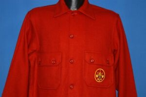 vintage 70s BOY SCOUTS OF AMERICA OFFICIAL JACKET HEAVYWEIGHT RED WOOL LARGE