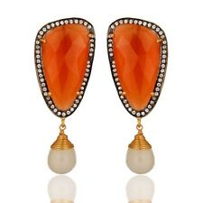 White Chalcedony And Peach Moonstone 925 Sterling Silver Earrings - Gold Plated
