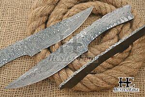 HUNTEX Custom Hand-Forged Damascus Steel 250 mm Long Full Tang Blank Blade Knife