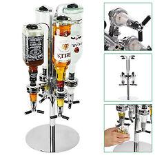Rotary 4 Bottle Stand Drinks Optics Dispenser Spirits Wine Steel Bar Butler Rack