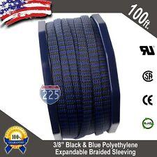 "100 FT 3/8"" Black Blue Expandable Wire Sleeving Sheathing Braided Loom Tubing US"