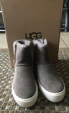 New Australian UGG AIKA Suede/Leather MLE/ GRAY ANKLE BOOTS, size 7.5 US