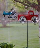 Vintage Metal Solar Red Farm Truck Airplane Wind Spinner Garden Yard Art Gift