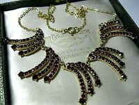 Vintage Jewellery Art Deco Austrian Gold on Silver Garnet Gem Stone NECKLACE